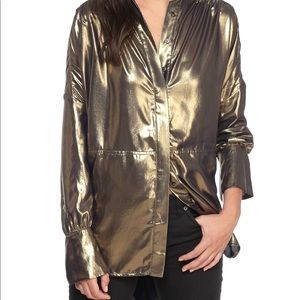Free People Metallic Gold Women Blouse Sz M